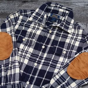Polo flannel button down shirt elbow patches